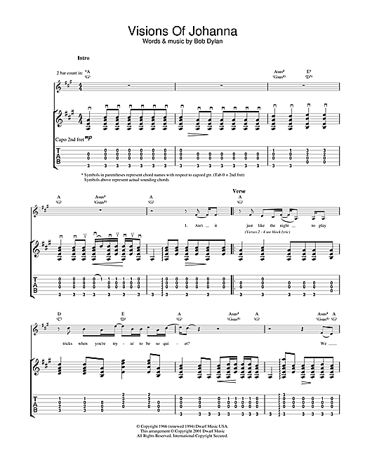 Tablature guitare Visions Of Johanna de Bob Dylan - Tablature Guitare