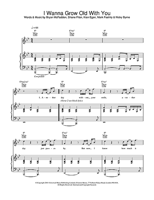 Guitar guitar chords grow old with you : I Wanna Grow Old With You sheet music by Westlife (Piano, Vocal ...