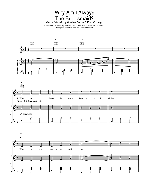 Why Am I Always The Bridesmaid? Sheet Music
