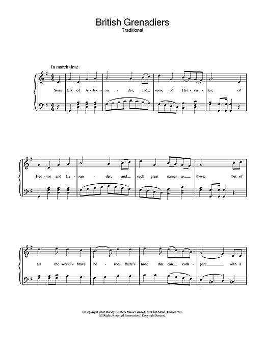 British Grenadiers (Piano, Vocal & Guitar (Right-Hand Melody))