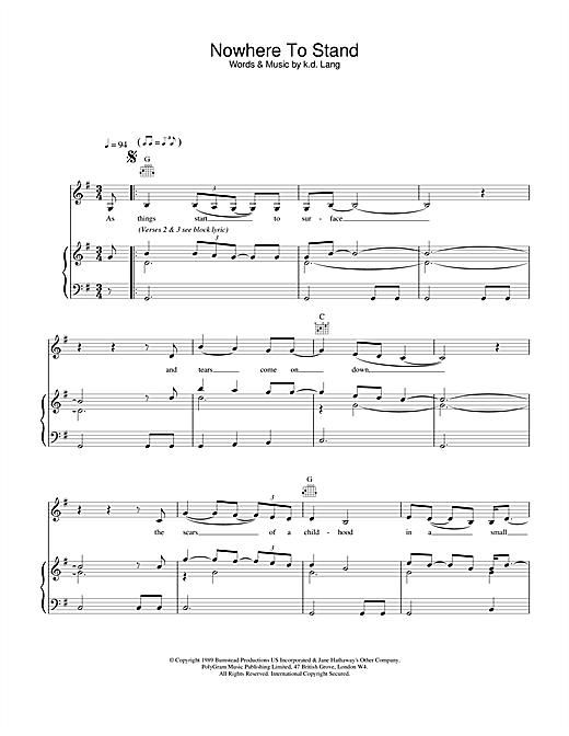 Nowhere To Stand Sheet Music
