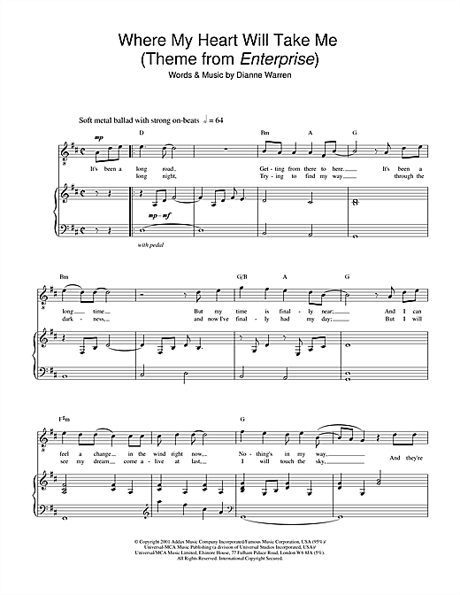 Where My Heart Will Take Me (theme from Star Trek: Enterprise) Sheet Music