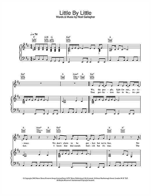 Partition piano Little By Little de Oasis - Piano Voix Guitare