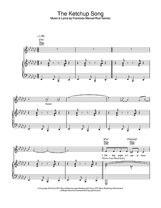 The Ketchup Song Sheet Music