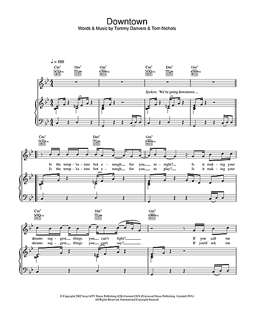Downtown Sheet Music