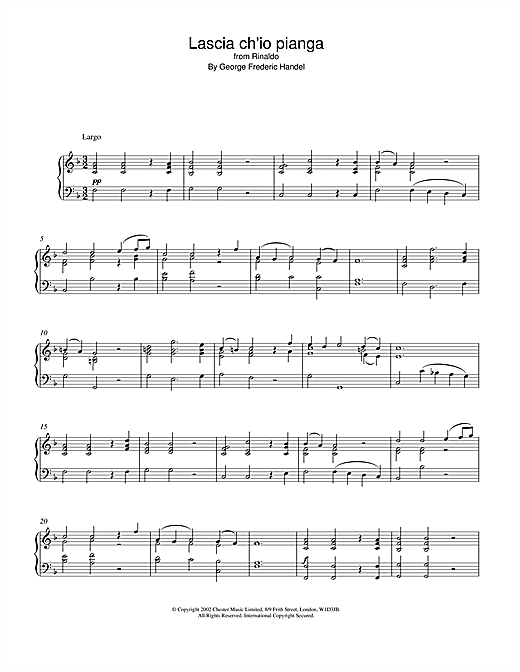Lascia Ch'io Pianga (from Rinaldo) Sheet Music