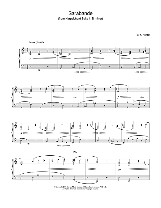 Sarabande (from Harpsichord Suite in D Minor) Sheet Music