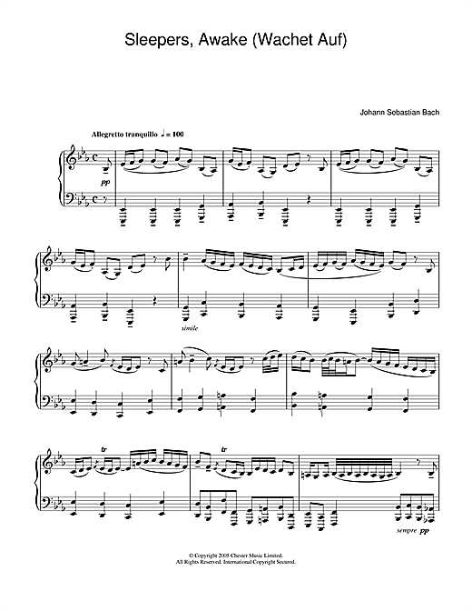 Sleepers Awake Wachet Auf Sheet Music By J S Bach