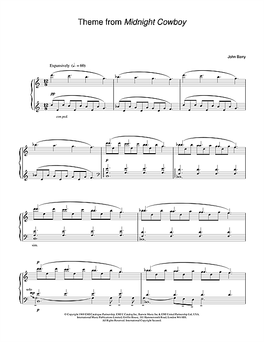 Theme from Midnight Cowboy Sheet Music