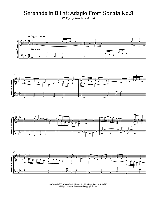 Serenade in B flat: Adagio From Sonata No.3 Sheet Music