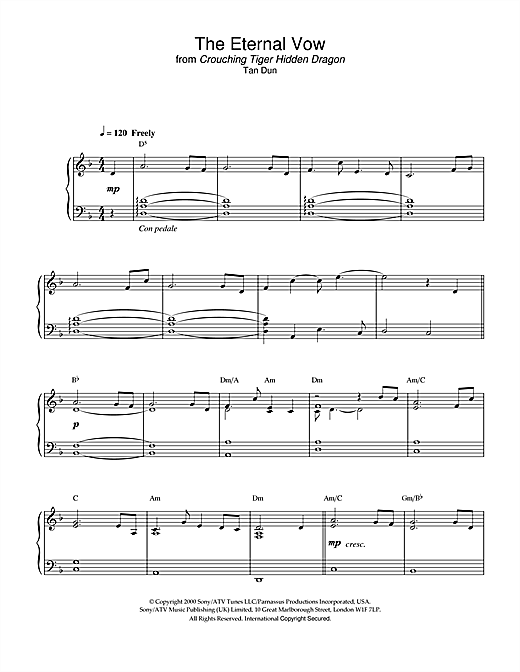 The Eternal Vow (from Crouching Tiger, Hidden Dragon) Sheet Music