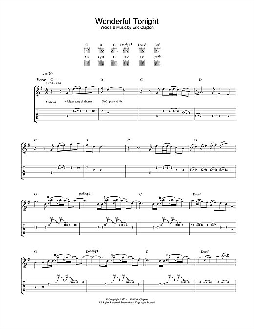 Tablature guitare Wonderful Tonight (from 'The Story Of Us') de Eric Clapton - Tablature Guitare