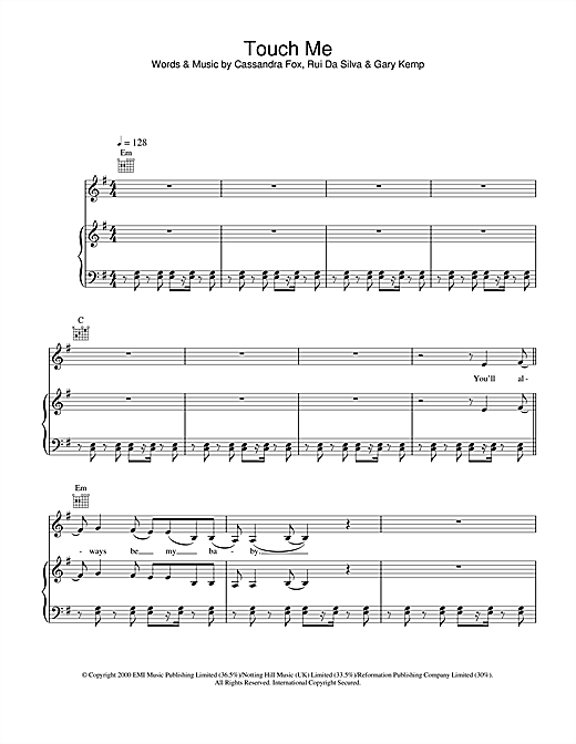 Touch Me Sheet Music