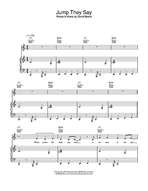 Jump They Say (Piano, Vocal & Guitar)