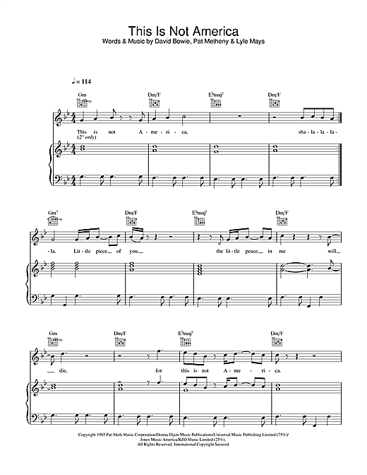 This Is Not America Sheet Music