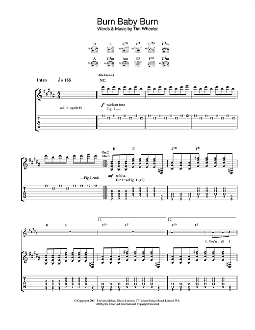 Burn Baby Burn Sheet Music