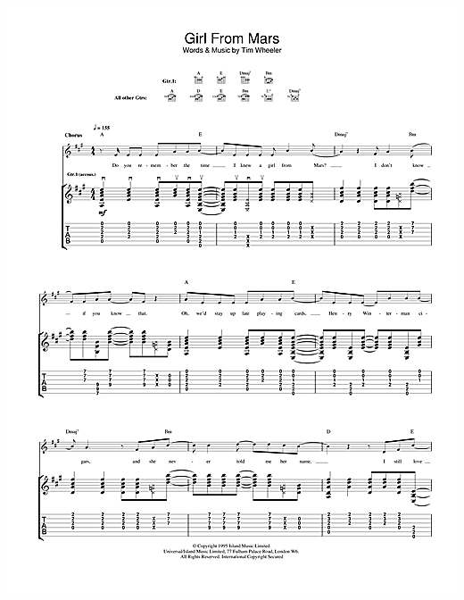 Girl From Mars Sheet Music