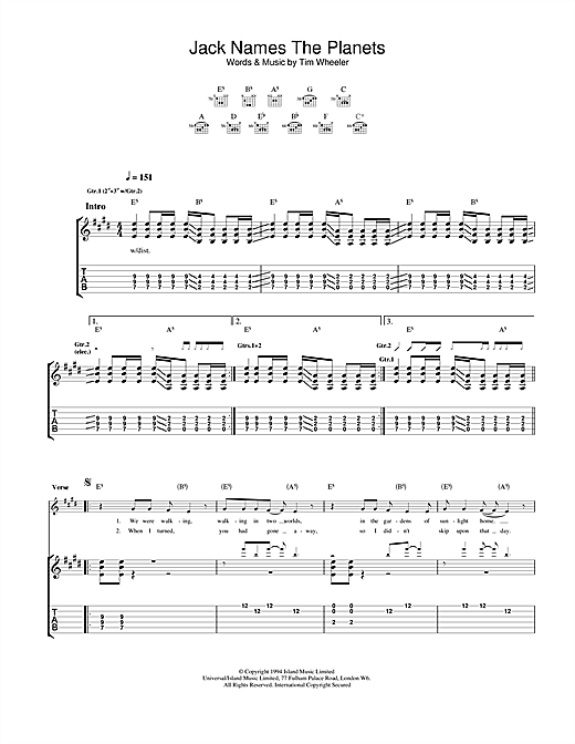 Jack Names The Planets (Guitar Tab)
