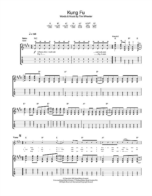 Tablature guitare Kung Fu de Ash - Tablature Guitare