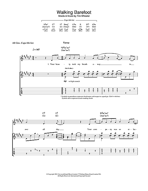 Walking Barefoot Sheet Music