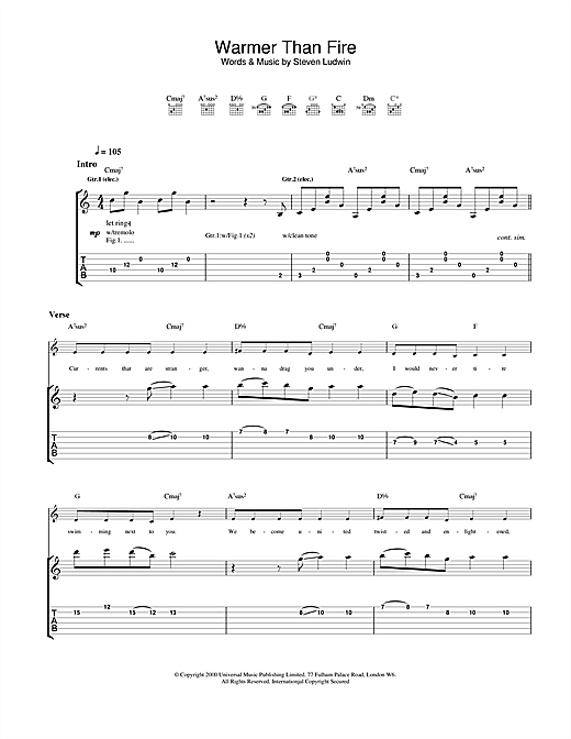 Tablature guitare Warmer Than Fire de Ash - Tablature Guitare