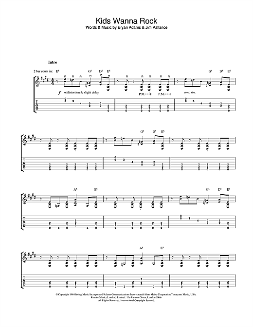 Tablature guitare Kids Wanna Rock de Bryan Adams - Tablature Guitare