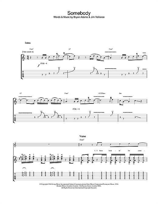 Tablature guitare Somebody de Bryan Adams - Tablature Guitare