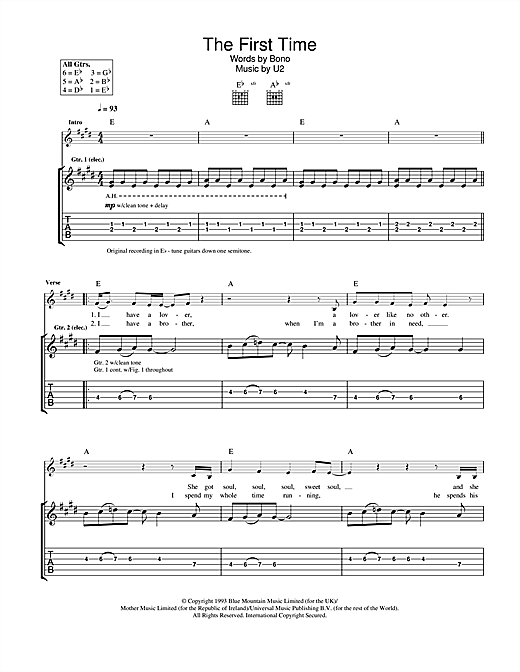 Tablature guitare The First Time de U2 - Tablature Guitare