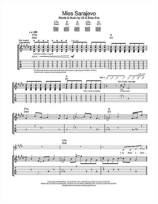Tablature guitare Miss Sarajevo de U2 - Tablature Guitare