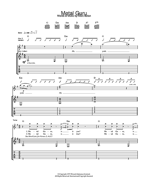 Metal Guru (Guitar Tab)