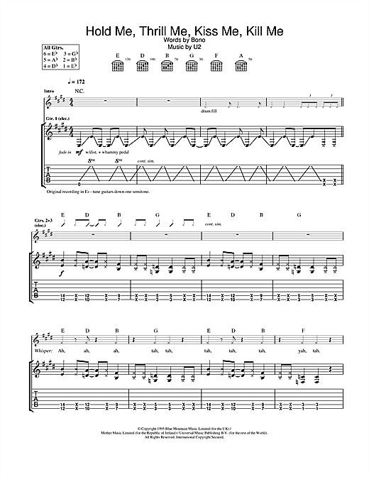 Tablature guitare Hold Me, Thrill Me, Kiss Me, Kill Me de U2 - Tablature Guitare