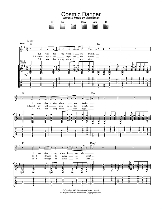 Tablature guitare Cosmic Dancer de T Rex - Tablature Guitare