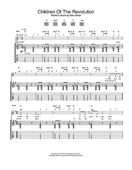 Tablature guitare Children Of The Revolution de T Rex - Tablature Guitare