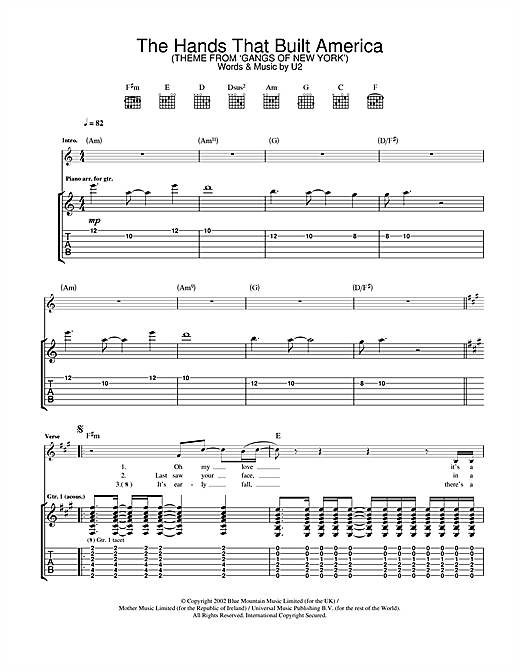 Tablature guitare The Hands That Built America (from Gangs Of New York) de U2 - Tablature Guitare