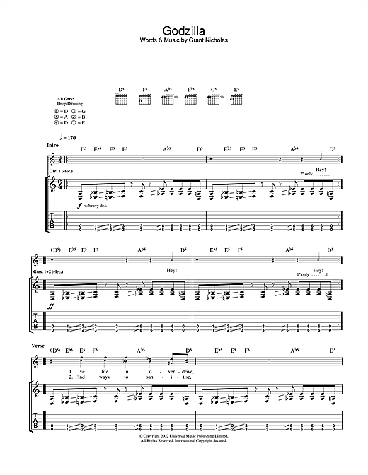 Tablature guitare Godzilla de Feeder - Tablature Guitare