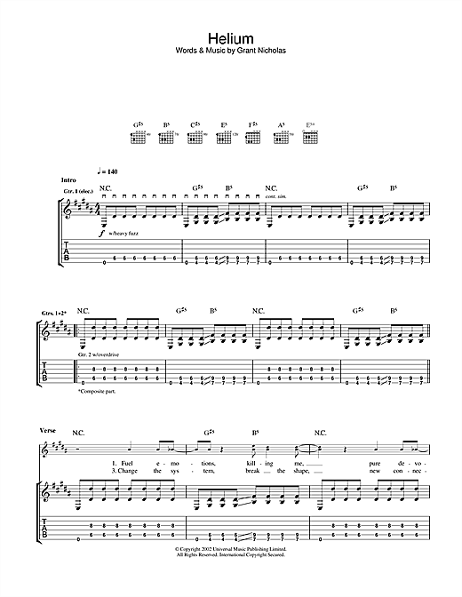 Helium Sheet Music