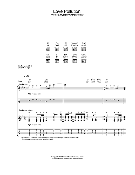 Tablature guitare Love Pollution de Feeder - Tablature Guitare