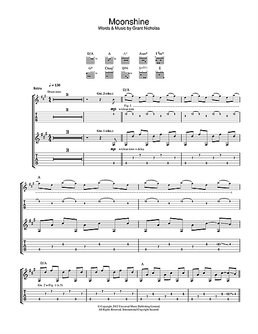 Tablature guitare Moonshine de Feeder - Tablature Guitare