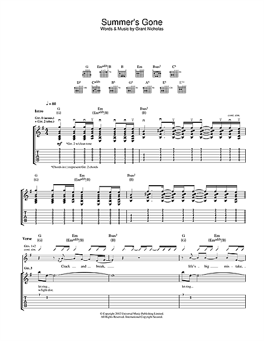 Tablature guitare Summer's Gone de Feeder - Tablature Guitare