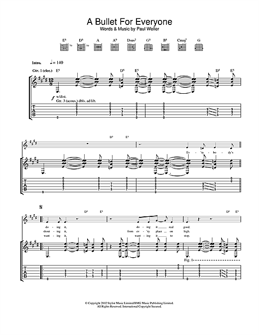 Tablature guitare A Bullet For Everyone de Paul Weller - Tablature Guitare