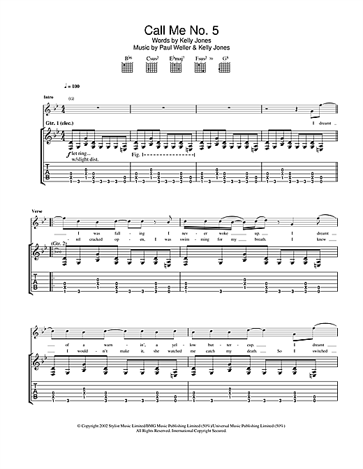 Tablature guitare Call Me No. 5 de Paul Weller - Tablature Guitare