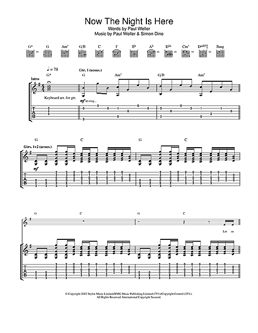 Now The Night Is Here (Guitar Tab)
