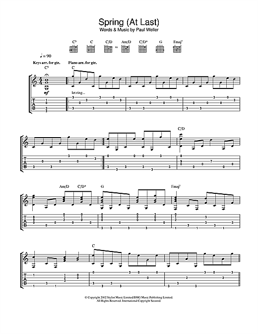 Tablature guitare Spring (At Last) de Paul Weller - Tablature Guitare