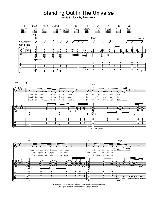 Standing Out In The Universe Sheet Music