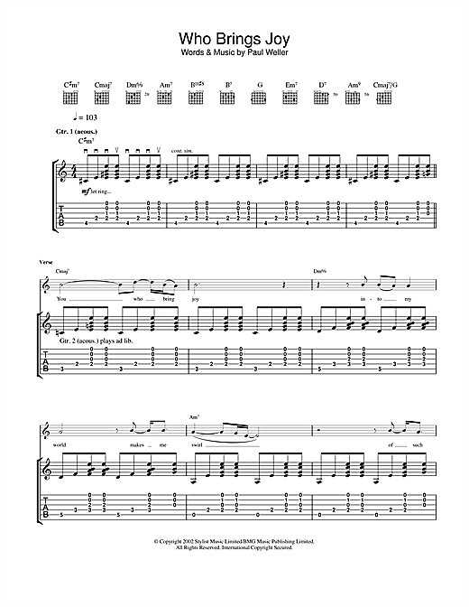 Tablature guitare Who Brings Joy de Paul Weller - Tablature Guitare