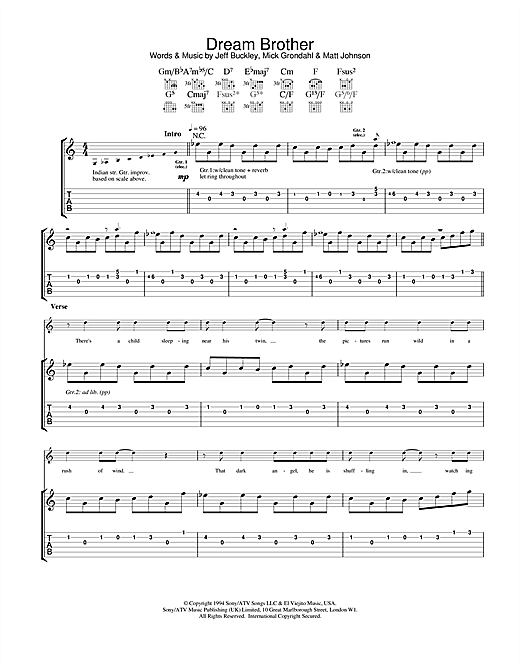 Dream Brother Sheet Music