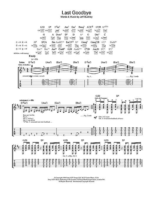Tablature guitare Last Goodbye de Jeff Buckley - Tablature Guitare