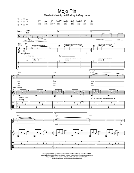 Tablature guitare Mojo Pin de Jeff Buckley - Tablature Guitare