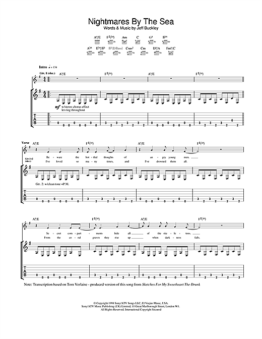Tablature guitare Nightmares By The Sea de Jeff Buckley - Tablature Guitare