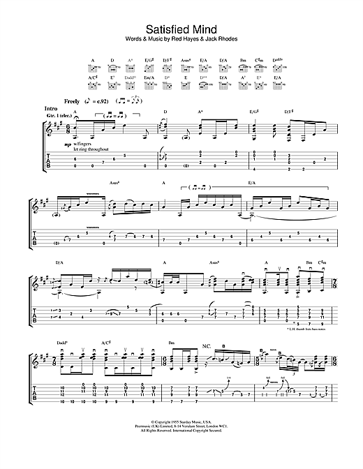 Tablature guitare Satisfied Mind de Jeff Buckley - Tablature Guitare